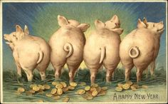 Good Luck in the New Year is a traditional wish, illustrated on antique postcards by a variety of Good Luck symbols. This post focu. Vintage Happy New Year, Vintage Holiday, This Little Piggy, Little Pigs, Pig Illustration, Animal Illustrations, Pig Drawing, Good Luck Symbols, New Year Postcard