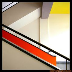 Bauhaus Architecture. This is strongly using the comon influence of only a few colours within a Bauhaus concept. with use of line, shape and form.
