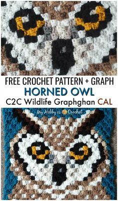 The Horned Owl Square is block of the Wildlife Graphghan CAL. Find … The Horned Owl Square is block of the Wildlife Graphghan CAL. Find the free written instructions + graph on My Hobby is Crochet… Continue Reading → Crochet Pixel, Crochet C2c, Crochet Gratis, Crochet Squares, Crochet Blanket Patterns, Double Crochet, Crochet Stitches, Crochet Hooks, Crochet Baby