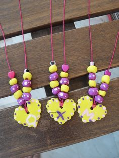 necklesses with polymer clay-hearts