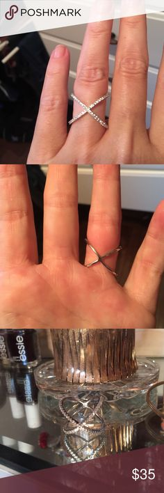 Sterling silver and crystal pave ring. Price FIRM! Sterling silver and crystal crisscross ring. Not exactly sure of size but pretty sure it's a size 6 by the way it fits me. Super cute and trendy! No trades!! Jewelry Rings