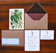 We adore this botanical illustration of hops on this earth-toned wedding invite @myweddingdotcom