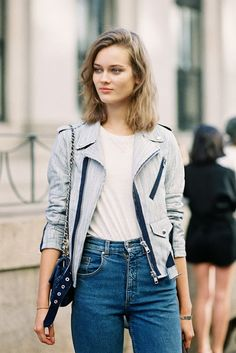 white + high-waisted + moto with a twist