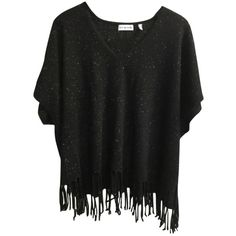 Pre-owned 525 America Sweater ($176) ❤ liked on Polyvore featuring tops, sweaters, blac, black cashmere sweater, black cashmere poncho, fringe poncho sweater, cashmere poncho sweater and white sweater