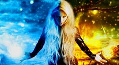 women model blonde long hair women outdoors looking at viewer open mouth nature contrast black dress fire ice frost branch photo manipulation artwork fantasy art magic wallpaper JPG 508 kB Fantasy Girl, Chica Fantasy, Fantasy Women, Fire And Ice Wallpaper, Ice Powers, Secret Power, Ice Art, Earth Wind, Fantasy Images