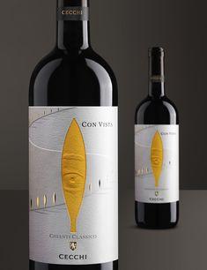 Con Vista on Packaging of the World - Creative Package Design Gallery Sauvignon Blanc, Cabernet Sauvignon, Wine Bottle Design, Wine Label Design, Wine Bottle Labels, Wine Bottles, Chenin Blanc, Pinot Noir, Chianti Classico