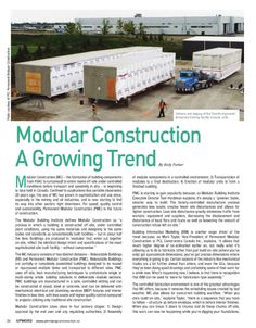 """Modular Construction a Growing Trend"": MBI & member PCL Construction featured in UPWORD, Winnipeg Construction Association's quarterly magazine."