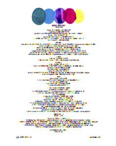 """Vogue March 2010:pg 230 (List of Contributors,"" artist: Lauren DiCioccio. Color codification of text that appears on a Vogue contributors page."