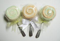 The Lauren - Washcloth Lollipops. $4.50, via Etsy.