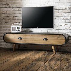 Zinjin Z Industrial Tv Unit Modern Wood Furniture, Tv Furniture, Furniture Design, Indian Living Rooms, Home Living Room, Diy Interior, Interior Design Living Room, Lcd Wall Design, Tv Design