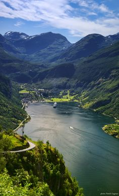 Geiranger Fjord, Norway.  Breathtaking.  Waterfalls everywhere.