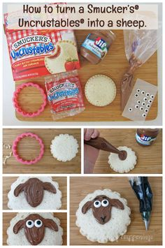 How to turn Smucker's® Uncrustables® into cute sheep sandwiches.