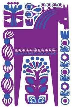 horse with flowers blue purple - Marimekko