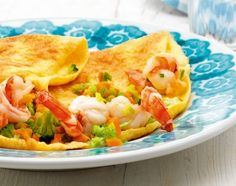 Crevetten-Omelette mit Brokkoli und Rüebli