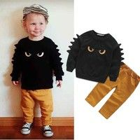 New Arrival Baby Boys 2016 Autumn Clothes Sets Cute Cotton Eyes Baby Boy Tops + Yellow Solid Pants Cartoon Outfits Set Baby Outfits, Toddler Boy Outfits, Toddler Boys, Kids Outfits, Toddler Dress, Cartoon Outfits, Toddler Boy Fashion, Kids Fashion, Friends Fashion
