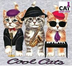 Cool Cats Shirt, 3 Kittens in a Jazz Band, playful, sassy, Small - Plus Sizes