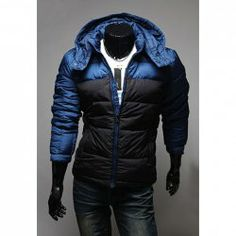 $25.85 Fashion Style Hooded Blocking Color Long Sleeves Zipper Fly Polyester Coat For Men