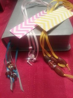 Gifts I'm making for international convention in june.. little bling at the end of the extra ribbons for the bible.