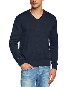 TOM TAILOR Polo Team Herren Sweatshirt v-neck sweater 408, Einfarbig, Gr. Medium, Blau (washed navy blue 6657)