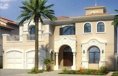 Штукатурный дом бежевого цвета в средиземноморском стиле