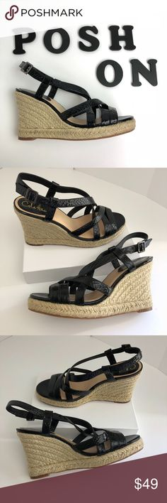 """Cole Haan Python Leather Meadow Espadrille Wedge MSRP $180 Sold out!  US 8.5 M Black  Espadrille wedges make this sandal a summertime must for work and play. Festival Coachella music party worthy. Soft patent python print leather upper. Shiny functional buckle closure at side ankle. Leather lined. Padded leather sock lining. Rubber sole Jute-wrapped wedge heel  EUC; see pics for v minimal wear No box/dust bag (will ship well protected)  Measures approx Heel 4"""" Platform 1""""  Offers warmly…"""