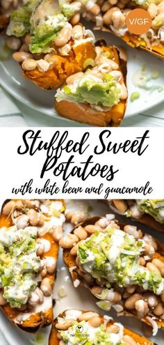 Stuffed Sweet Potatoes with White Bean and Guacamole. Healthy vegan comfort food… Stuffed Sweet Potatoes with White Bean and Guacamole. Healthy vegan comfort food, gluten-free and easy. Delicious as a main dish or side dish. Vegan Appetizers, Vegan Dinner Recipes, Healthy Recipes, Vegan Dinners, Whole Food Recipes, Vegetarian Recipes, Healthy Food, Main Dishes, Side Dishes