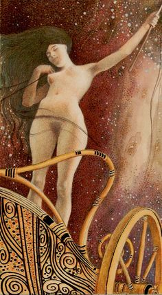 VII. The Chariot: Golden Tarot of Klimt