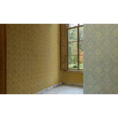 Papier peint Médaillons fleuris jaun - collection Anvers de Montecolino : Papier peint chambre, Cuisine, entrée, pièce à vivre, Salle de bain à motifs