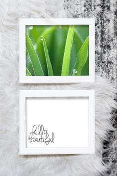 "Easily decorate any space with this package including ""hello beautiful"" inspirational quote paired with a photo of green grass.  Just download and print.  #naturephotography #hellobeautiful #inspirationalquotes #printables Printable Quotes, Printable Art, Printables, Rgb Color Space, Mermaid Invitations, New Homeowner, Nature Decor, Affordable Art, Hello Beautiful"