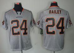Denver Broncos 24 Champ Bailey Lights Out Grey Elite Jerseys