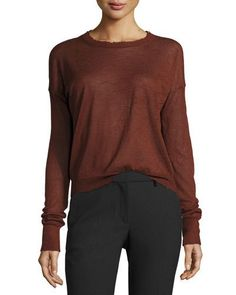 HELMUT LANG DISTRESSED CASHMERE PULLOVER SWEATER, POMEGRANATE. #helmutlang #cloth #