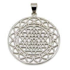 "Classic Sri Yantra Pendant Sterling Silver 925 Size 1.6"" Sacred Geometry Yoga #MAGAYA #Pendant"