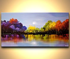 Landscape Colorful Blooming Trees Painting Textured With Palette Knife Original…