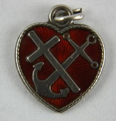 Old Vintage Meka Denmark Red Enamel Guilloche Heart Charm Faith Hope Charity | eBay