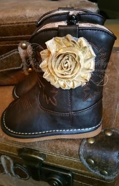 Chocolate Leather Squeaker Boots with Gold Flower