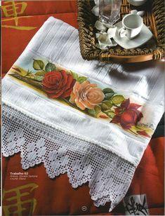 Pintura em Tecido Passo a Passo: Pintura de rosas em toalha e gráfico de bico de crochê