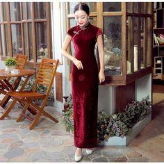 Traditional Burgundy Pleuche Full Length Cheongsam Qipao Dress