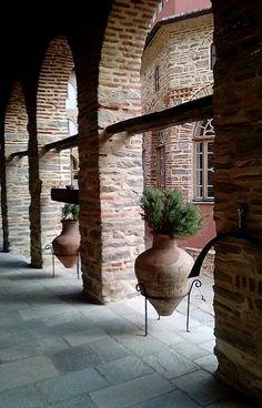 Interior view of Pantokratoros monastery, Mount Athos, Greece