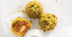 Try the new trend with these savoury bliss balls. Filled with feta and coated in pistachio nuts, these sweet potato balls make for a healthy and satisfying snack.