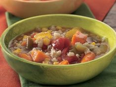 Slow Cooker Vegetable Soup with Barley - Save time slicing and dicing by using a combo of lots of different fresh and prepared frozen veggies in this wholesome soup with plenty of nutty pearl barley. Healthy Slow Cooker, Slow Cooker Soup, Slow Cooker Recipes, Crockpot Recipes, Chicken Recipes, Cooking Recipes, Healthy Recipes, Cooking Tips, Healthy Meals