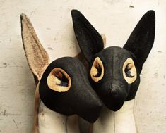 finch masked fox textile art