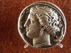 Syracuse, Sicily, AR tetradrachm. Portrait of the nymph Arethusa,