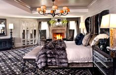 25 Contemporary Bedrooms with Animal Fur | Los Angeles Contemporary Bedroom | Image: Jeff Andrews Design | This contemporary bedroom is all classy and sophisticated with the color scheme and texture presented to us!