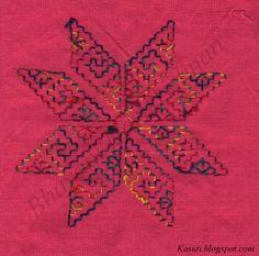 kasuti embroidery on net - reverse side