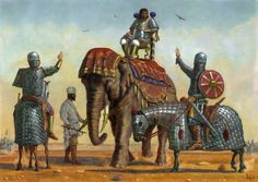 A Sassanid general atop an Elephant is hailed by two Persian Clibinarii.