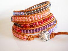 Czech Glass Bracelet 5Wrap Leather Bracelet Multi by RopesofPearls