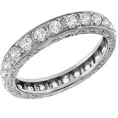 Art Deco  1.00ct Old Mine Brilliant Diamond Eternity Wedding Band