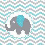 Rótulo Mini Confeti Elefantinho Chevron Cinza e Azul Turquesa