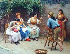 Die Plauderei - Chatting Eugene de Blaas | Oil Painting Reproduction | 1st-Art-Gallery.com