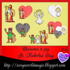 Digital Scrapbooking Freebies, St Nicholas Day, Kit, Characters, Comics, Design, Figurines, Comic Book, Cartoons